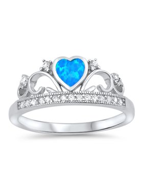 Product Image CHOOSE YOUR COLOR Blue Simulated Sapphire Heart Promise Ring Sterling Silver Tiara Crown Band (Blue