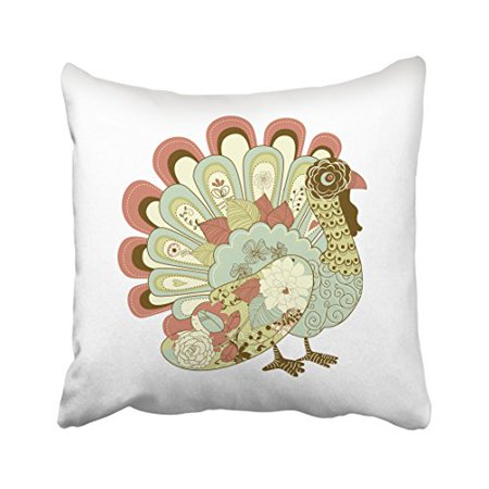 Throw Pillow Cover Pattern With Zipper : WinHome Thanksgiving Vintage Cartoon Turkey Pattern Feather Decorative Pillow Cover With Hidden ...
