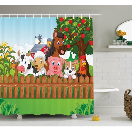 . Cartoon Decor Collection Of Cute Farm Animals On The Fence Comic Mascots  With Dog Cow Horse For Kids Decor  Bathroom Accessories  69W X 84L Inches