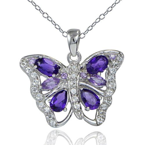 Glitzy Rocks  Sterling Silver African Amethyst and White Topaz Butterfly Necklace
