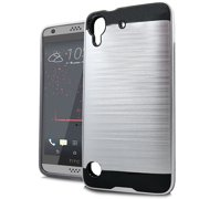 FINCIBO Brushed Card Hybrid Case Slim Hard Layer Armor Cover for HTC Desire 530 630, Silver/ Black