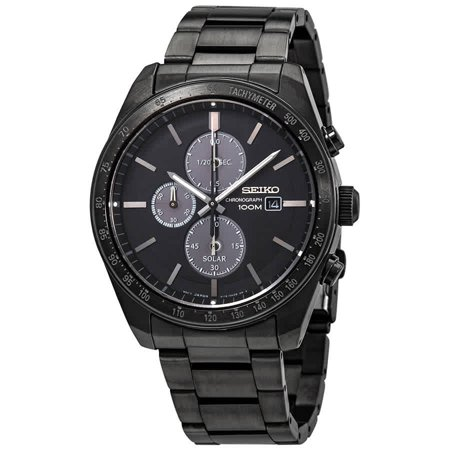 Seiko Solar Chronograph Quartz Black Dial Men's Watch SSC721 Seiko Mens Alarm Chronograph