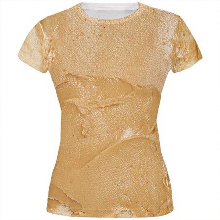 Halloween Peanut Butter PB Sandwich Costume All Over Juniors T Shirt - Sandwich Costumes