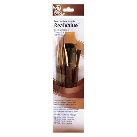 Princeton Brush Real Value 4-Brush Golden Taklon Brush Set, Round 4, 8, Wash 1/2, 1 1/2 Golden Taklon Brush