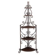 Decmode 69 Inch Eclectic Three-Shelf Iron And Wood Scrolled Corner Rack, Bronze