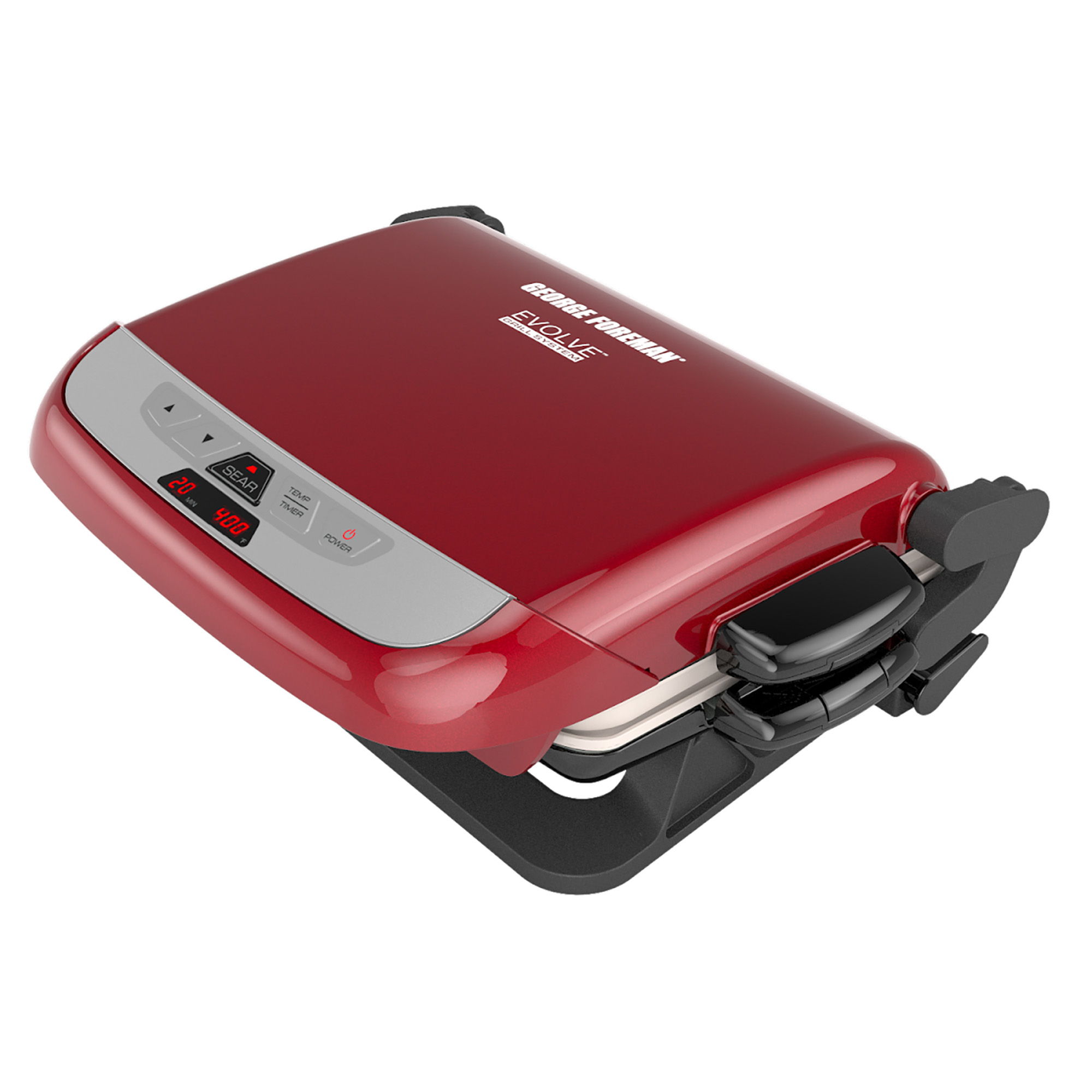 George Foreman Evolve 5-Serving Multi-Plate Grill System, Electric Indoor Grill with Ceramic Plates and Waffle Plates, Red, GRP4842RB