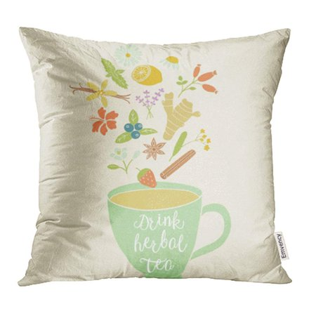 - CMFUN Cup with Herbal Ingredients Chamomile Lemon Mint Ginger Lavender Star Anise Pillow Case Pillow Cover 16x16 inch Bedding