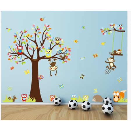 Large Wall Art Sticker Owl Monkey Tree Decal Removable DIY Kids Room ...