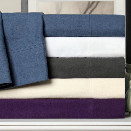 Luxor Treasures Solid Flannel Cotton Deep Pocket Sheet Set King Pillowcase Set - Solid White