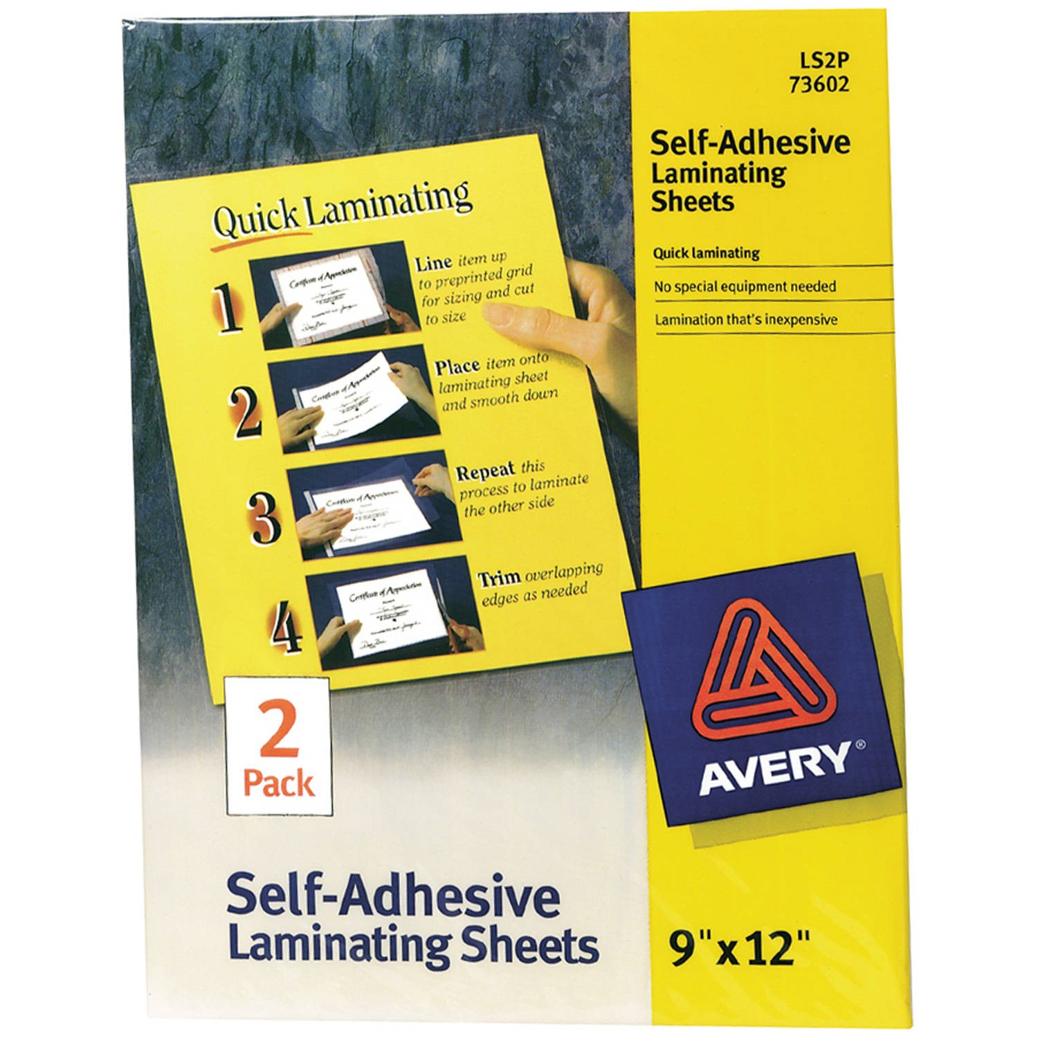 "(4 Pack) Avery Self-Adhesive Laminating Sheets 73602, 9"" x 12"", Pack of 2"