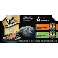(12 Pack - 24 Servings) SHEBA Wet Cat Food Cuts in Gravy Variety Pack, Roasted Chicken and Tender Turkey Entrees, 2.6 oz. PERFECT PORTIONS Twin Pack Trays