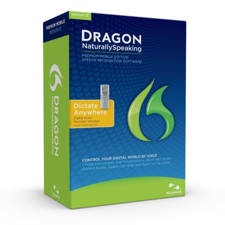 Dragon NaturallySpeaking Premium 12 w/Digital Recorder (Mobile), English (Old Version)