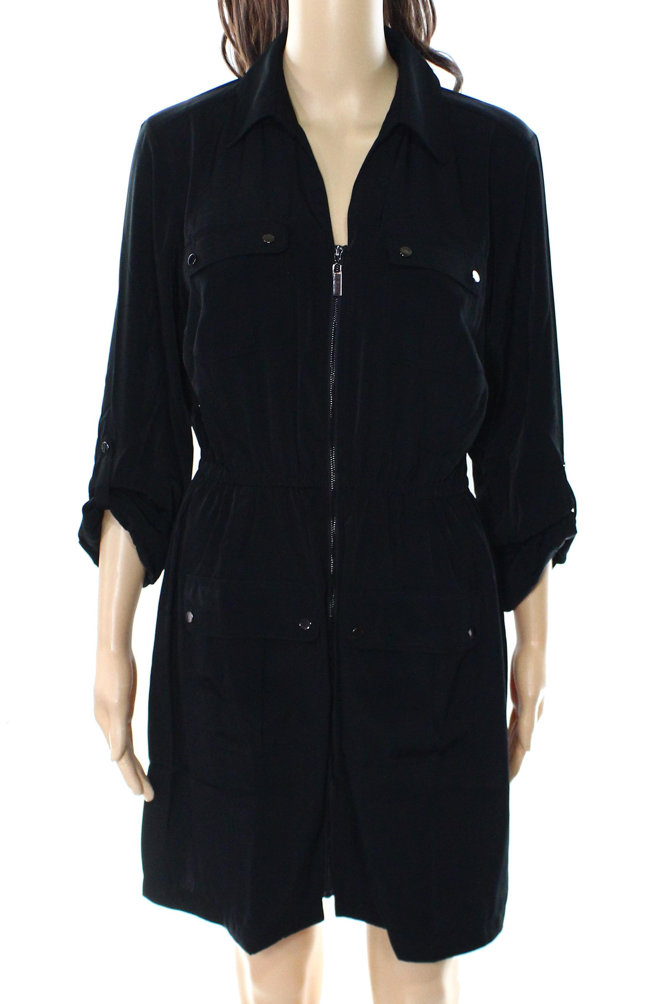 Alfani NEW Deep Black Womens Size 10 Zip-Front Tab Sleeve Shirt Dress