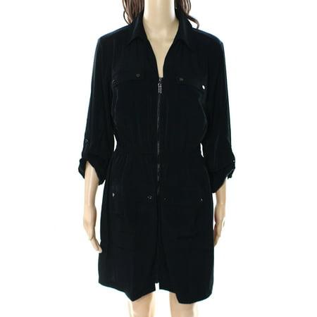 6d053498e69 -81% Alfani NEW Deep Black Womens Size 10 Zip-Front Tab Sleeve Shirt Dress