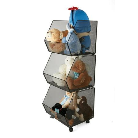 - Mind Reader 3 Tier Metal Mesh Rolling Stacking Storage Bins, Black