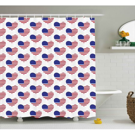 4th Of July Shower Curtain Retro Happy Independence Day Emblem Artsy Patriotic This Land Illustration