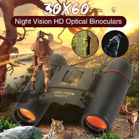 30x60 Day Night Vision Binoculars Mini Pocket Binoculars Folding Multi-Coated Waterproof Small Telescope with Bag for kids Adults Outdoor Travel Black thumbnail