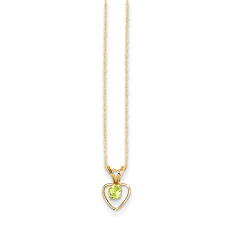 14kt Yellow Gold 3mm Green Peridot Heart Birthstone Chain Necklace Pendant Charm Kid Fine Jewelry Ideal Gifts For Women Gift Set From Heart Augusta Yellow Green