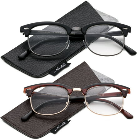 2 Packs Bifocal Reading Glasses Half Frame Vintage Retro Stylish and Fashion Reading Glasses Bifocal (Half Lens Glasses)