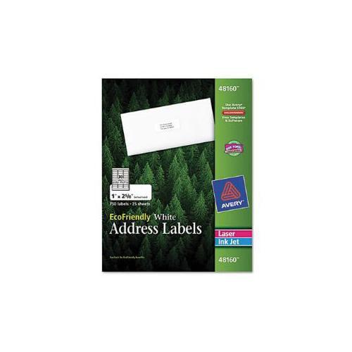 EcoFriendly Labels, 1 x 2-5/8, White, 750/Pack