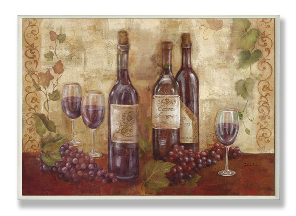 Bottles Glasses and Grapes Kitchen Wall Plaque by Stupell Industries