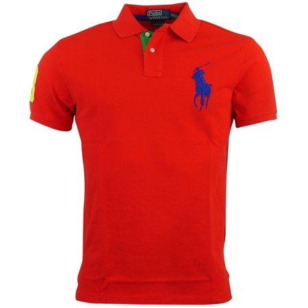 Polo Ralph Lauren Mens Custom Fit Big Pony Mesh Polo Shirt - M - Red