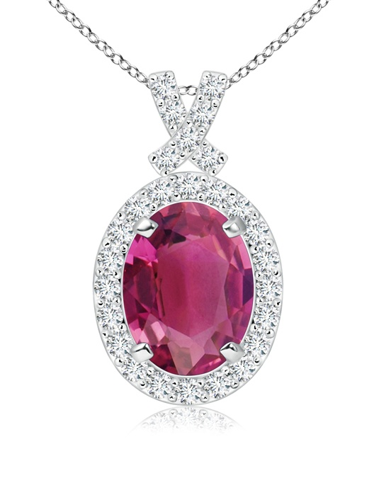 October Birthstone Pendant Necklaces Vintage Inspired Diamond Halo Oval Pink Tourmaline Pendant in 950 Platinum (8x6mm... by Angara.com
