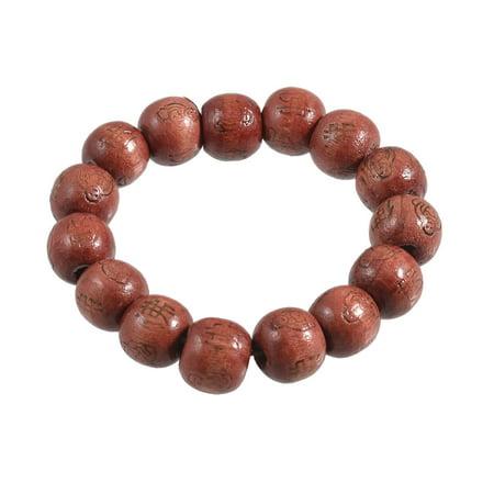 Unisex Brown Round Wooden Beaded Buddha Print Elastic Prayer Bracelet Bangle (Wooden Bangle Bracelets)
