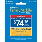 Walmart Family Mobile $74.76 Truly Unlimited 2-line Plan w 30GB of Mobile Hotspot per line e-PIN Top Up (Email Delivery)
