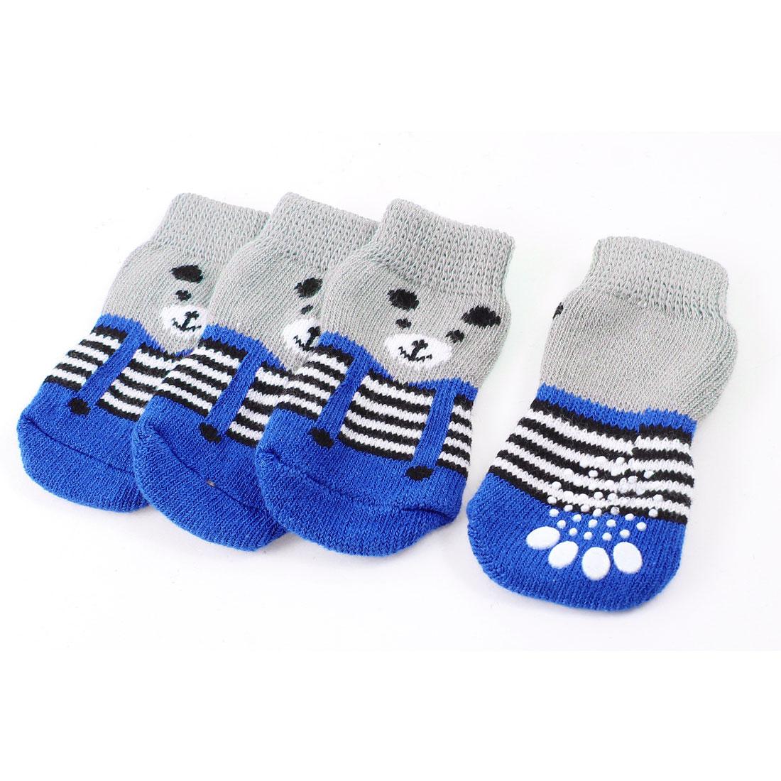 2 Pairs Gray Blue Bear Head Print Knitted Warm Pet Dog Maltese Socks L