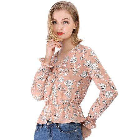 Women Floral Tops V Neck Long Sleeve Smock Sleeve Peplum Blouse (Size S / 6) Pink ()