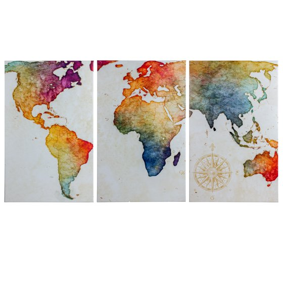 Crystal art 3 piece world map wrapped canvas wall art for Walmart art decor