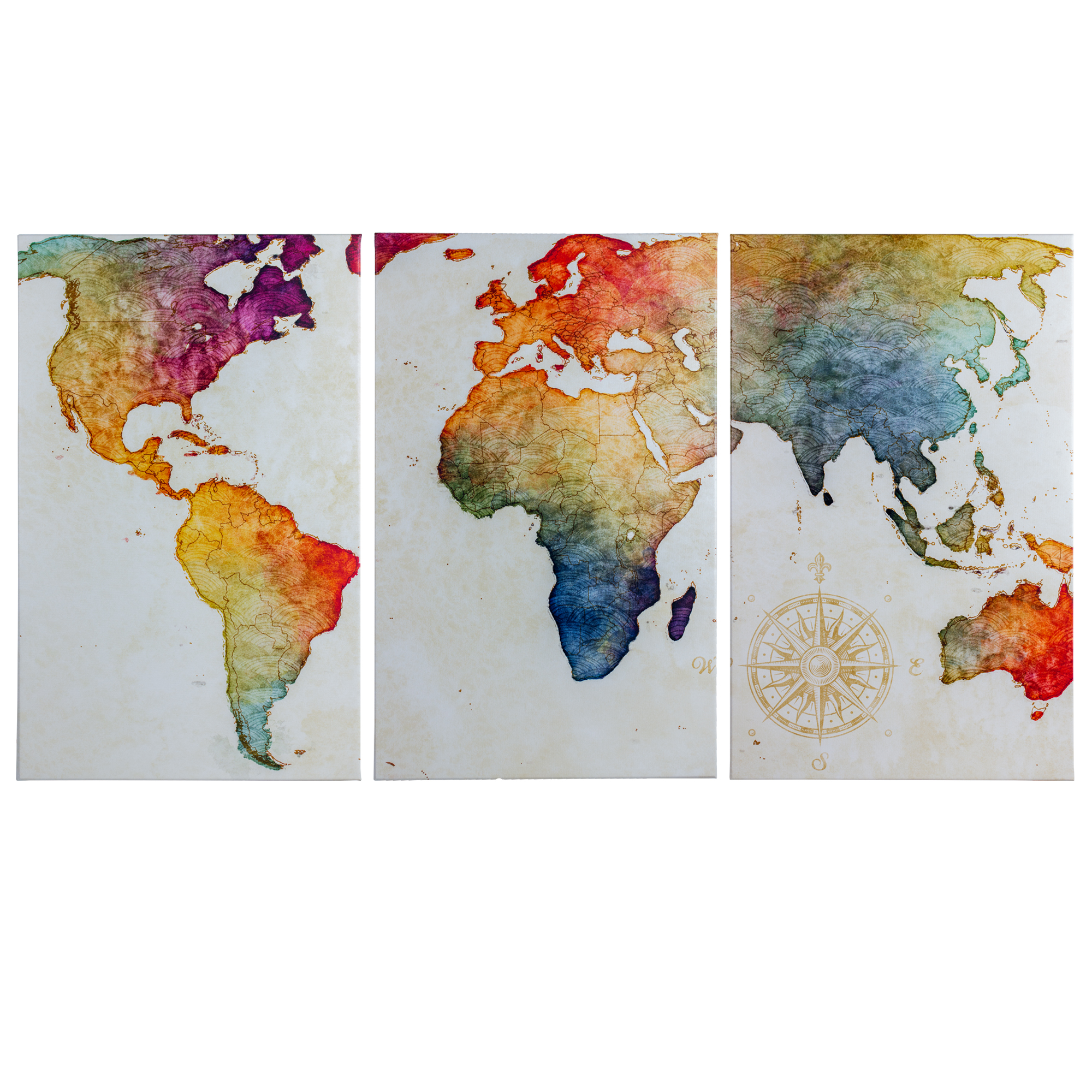 Crystal Art 3 Piece World Map Wrapped Canvas Wall Art Decor Set 19 X 30