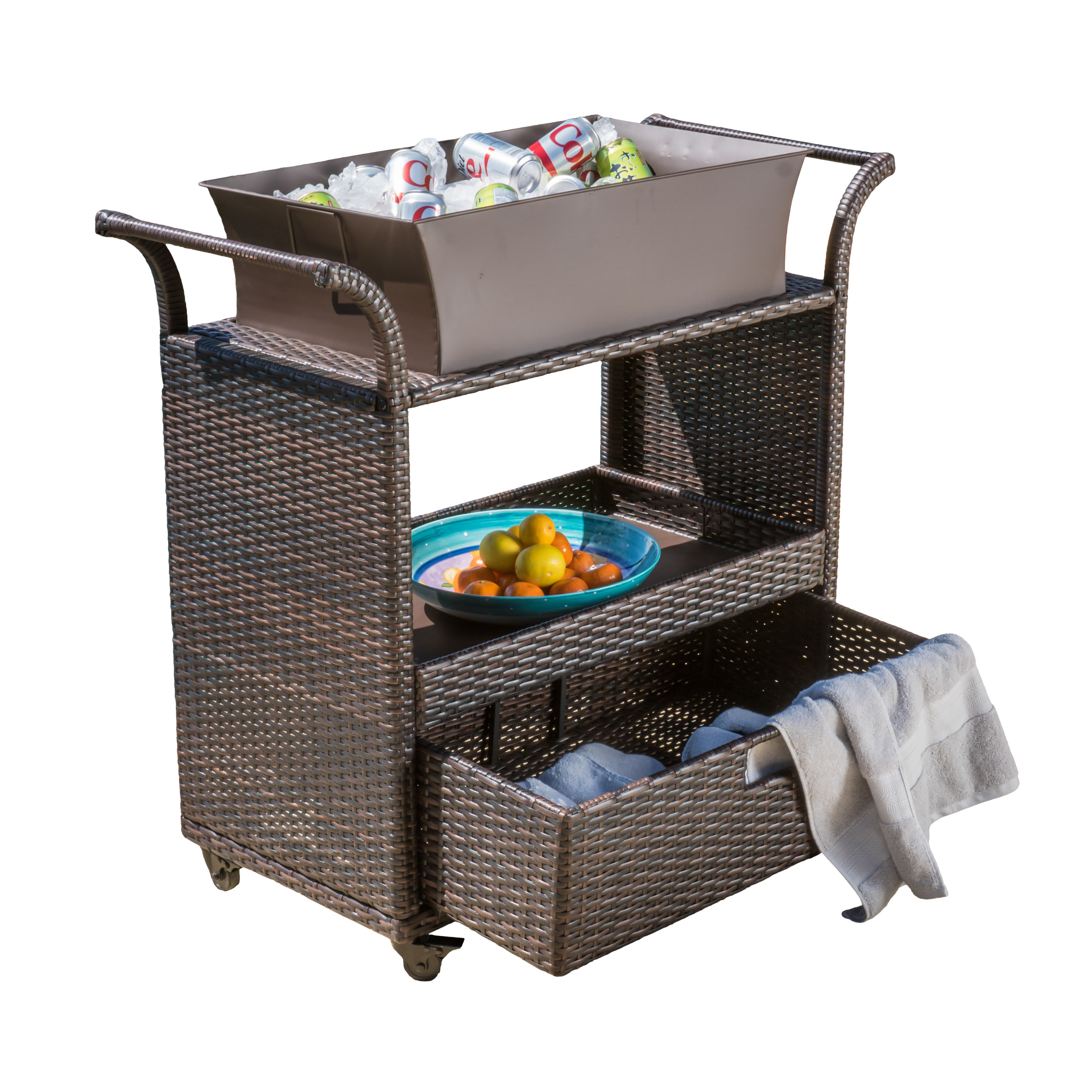 Romina Wicker Bar Cart with Drawer