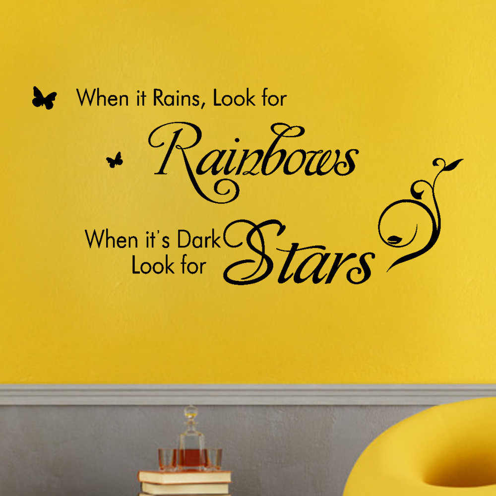 Mosunx When It Rains Look For Rainbows Decorative Vinyl Wall Art ...
