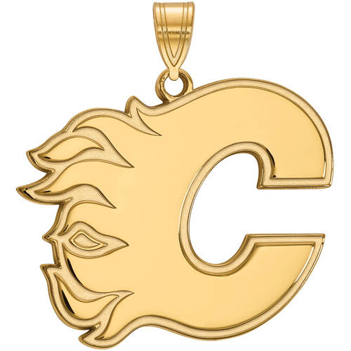 LogoArt NHL Calgary Flames 14kt Gold-Plated Sterling Silver Extra Large Pendant
