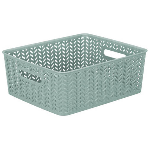 Simplify Meduim Resin Storage Tote Herringbone