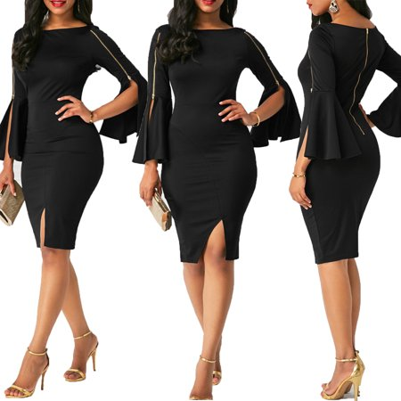2019 New Sexy Fashion Ladies Women Long Flare Sleeve Zipper Bodycon Bandage Casual Slim Ball Work Party Evening Clubwear Beach Cocktail Short Mini Dress