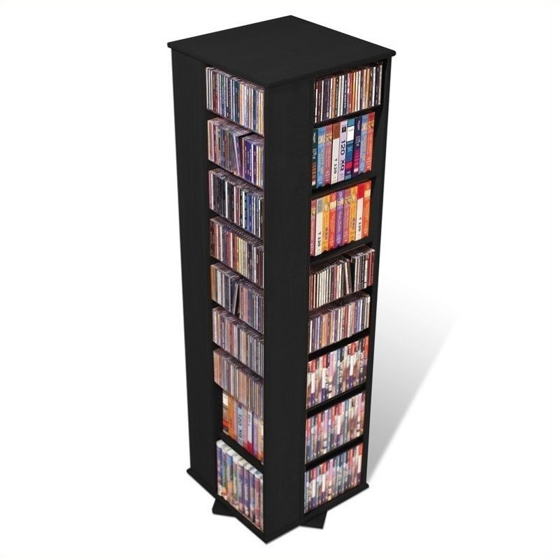 "Prepac 64"" 4-Sided CD DVD Spinning Media Storage Tower in Black"