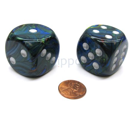 Chessex Festive 30mm Large D6 Dice, 2 Pieces - Green with Silver Pips #DF3065 - Green Fuzzy Dice