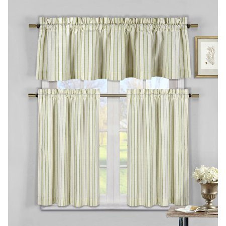 Sage Green, Taupe and Beige Three Piece Cotton Rich Kitchen/Cafe Tier Window Curtain Set: Striped pattern, One Valance, two Tiers