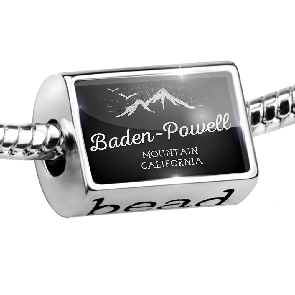 Bead Mountains chalkboard Baden-Powell Mountain - California Charm Fits All European Bracelets