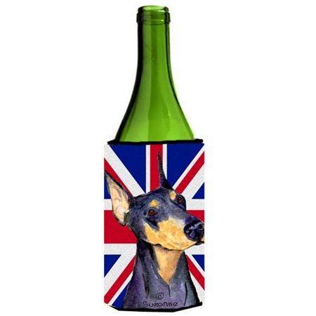Doberman With English Union Jack British Flag Wine bottle sleeve Hugger - 24 Oz. - image 1 de 1