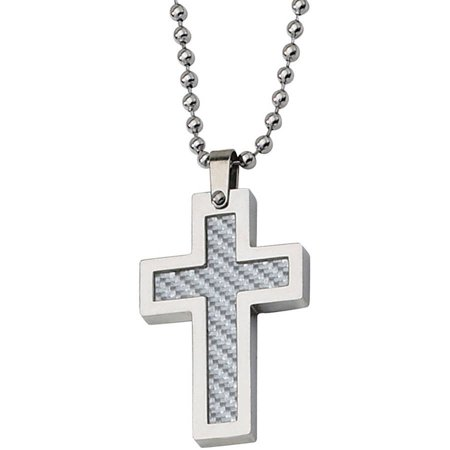 Stainless Steel Grey Carbon Fiber Cross Necklace, 22