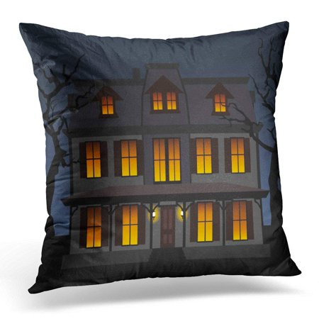 ARHOME Black Window Haunted House in The Night Blue Halloween Pillow Case Pillow Cover 20x20 inch - Akb48 Halloween Night Cover