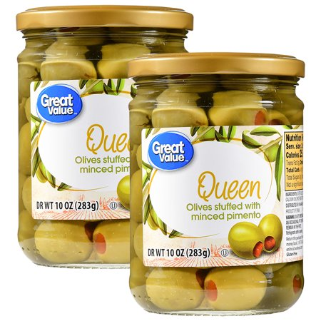 (2 Pack) Great Value Minced Pimiento Stuffed Queen Olives, 10 oz
