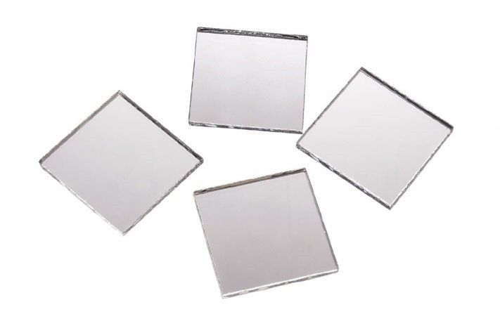 2 Inch Glass Craft Mini Square Mirrors 12 Pieces Square Mosaic Mirror Tiles by Art Cove