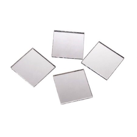 2 Inch Glass Craft Mini Square Mirrors 12 Pieces Square Mosaic Mirror Tiles (Mosaic Pieces)