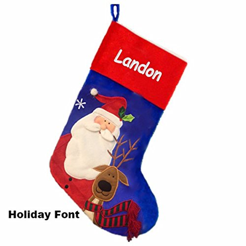 Personalized Santa and Reindeer Christmas Stocking