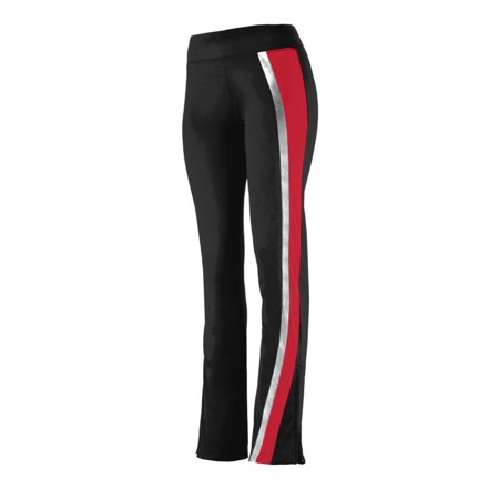 Augusta Sportswear Girl's Aurora Pant, Black/ Red/ Metallic Silver,